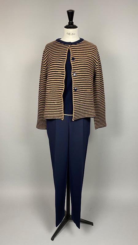 2-farbige Streifen-Strickjacke, Anna Seravalli